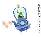 alien or little monster on a... | Shutterstock .eps vector #421317181