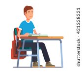 teen student boy sitting at his ... | Shutterstock .eps vector #421328221