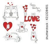 cute cats in love. valentines...   Shutterstock . vector #421328401