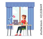 young woman working on laptop... | Shutterstock .eps vector #421328449