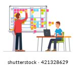 two developers planning their... | Shutterstock .eps vector #421328629