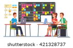 team working together on a big... | Shutterstock .eps vector #421328737