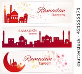 ramadan greetings  set of three ... | Shutterstock .eps vector #421333171