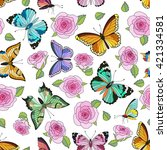 seamless colorful vector... | Shutterstock .eps vector #421334581