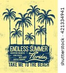 florida typography with floral... | Shutterstock .eps vector #421334941