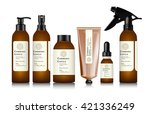 realistic brown bottle for... | Shutterstock .eps vector #421336249