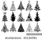 set of classic christmas trees. ... | Shutterstock .eps vector #42134581