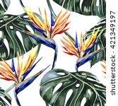 tropical flowers  jungle leaves ... | Shutterstock .eps vector #421349197
