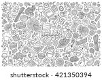 line art vector hand drawn... | Shutterstock .eps vector #421350394
