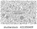 line art vector hand drawn... | Shutterstock .eps vector #421350409
