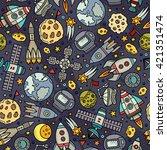 cartoon hand drawn space ... | Shutterstock .eps vector #421351474