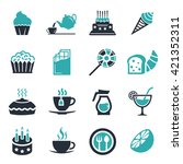 cafe  sweet  baked  desserts... | Shutterstock .eps vector #421352311