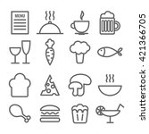 collection of linear food icons.... | Shutterstock .eps vector #421366705