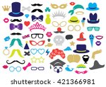 68 piece photo booth props  ... | Shutterstock .eps vector #421366981