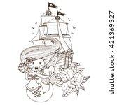 mermaid  pirate ship  dice....   Shutterstock .eps vector #421369327