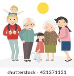 happy family portrait. father... | Shutterstock .eps vector #421371121