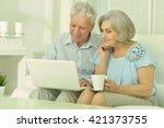 happy senior couple with laptop | Shutterstock . vector #421373755