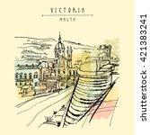 catholic church in victoria ... | Shutterstock .eps vector #421383241