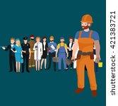 set workers team  profession... | Shutterstock .eps vector #421383721