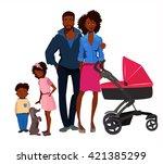afro american family portrait    Shutterstock .eps vector #421385299