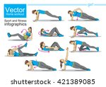 fitness  sports  girl performs... | Shutterstock .eps vector #421389085