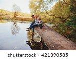 happy family spending time... | Shutterstock . vector #421390585