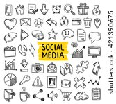 social media doodle icons. hand ... | Shutterstock .eps vector #421390675