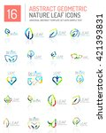 geometric leaf icon set. thin... | Shutterstock .eps vector #421393831
