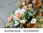 box with flowers on the ground. ... | Shutterstock . vector #421406965
