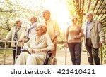 group of old people walking... | Shutterstock . vector #421410421