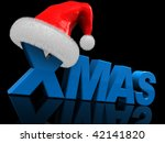 3d illustration of text 'xmas' and red christmas hat - stock photo