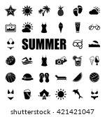 summer icons set | Shutterstock .eps vector #421421047
