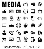 media icons set | Shutterstock .eps vector #421421119