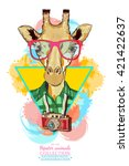 portrait of fashion giraffe ... | Shutterstock .eps vector #421422637