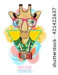 portrait of fashion giraffe ... | Shutterstock .eps vector #421422637
