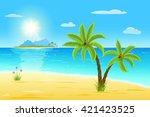 sea  sand  green palms  sun...   Shutterstock .eps vector #421423525