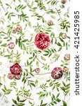 pink roses on white background. ...   Shutterstock . vector #421425985