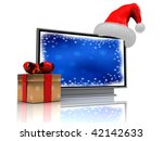 3d illustration of plasma tv with present box and christmas hat - stock photo