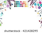 watercolor and brushes at white ...   Shutterstock . vector #421428295
