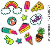 a set of quirky cartoon patch... | Shutterstock .eps vector #421428724