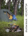 camping in the woods on the... | Shutterstock . vector #421429714