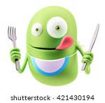 hungry emoticon face. 3d... | Shutterstock . vector #421430194