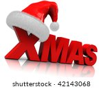 3d illustration of red text 'xmas' and christmas hat - stock photo