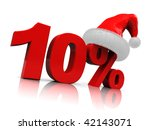 3d illustration of ten percent discount sign with christmas hat - stock photo