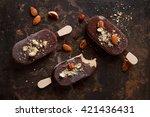 classic chocolate ice cream...   Shutterstock . vector #421436431
