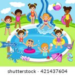 illustration of girls having a... | Shutterstock . vector #421437604