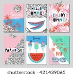 vector set of bright summer... | Shutterstock .eps vector #421439065