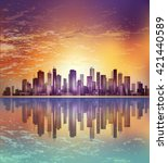 modern night city cityscape in... | Shutterstock .eps vector #421440589