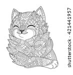 cat black white vector. zen art.... | Shutterstock .eps vector #421441957