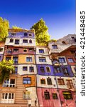 the view of hundertwasser house ... | Shutterstock . vector #421448485